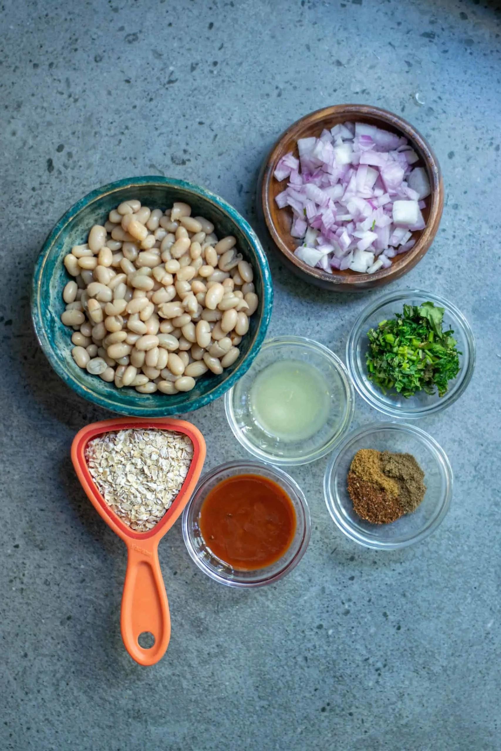 Ingredients needed for vegan white bean burgers.