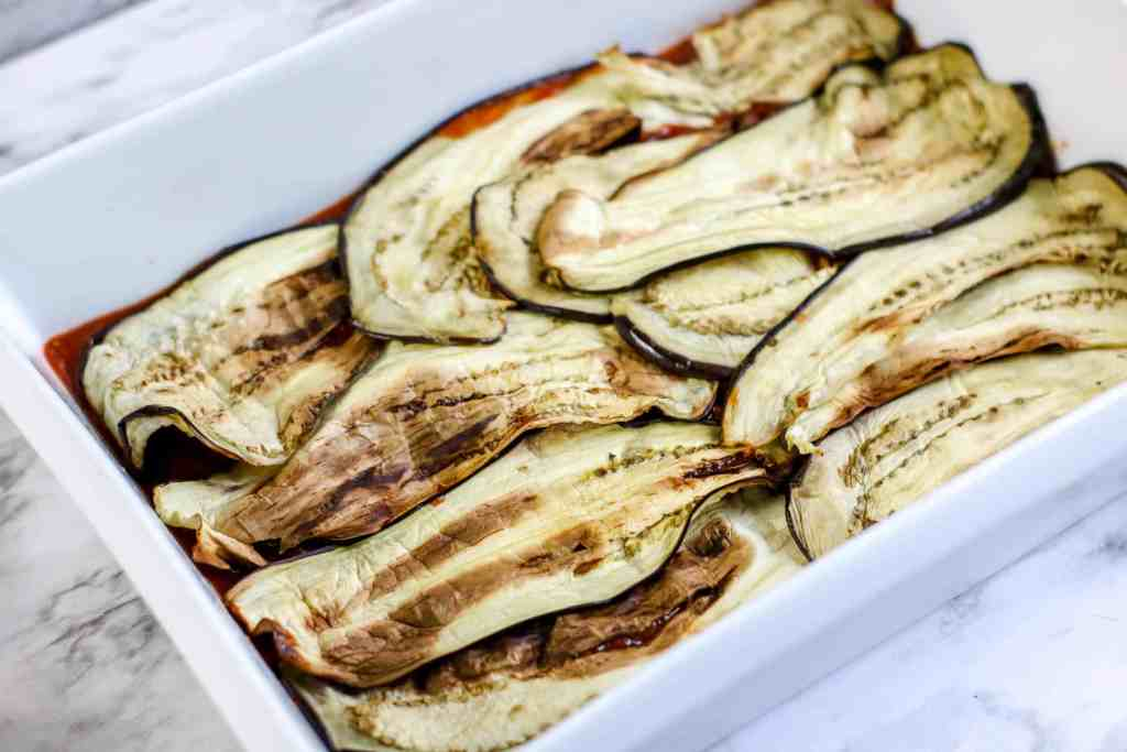 baked sliced eggplant in dish