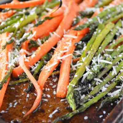Roasted Asparagus and Carrots with Parmesan Cheese