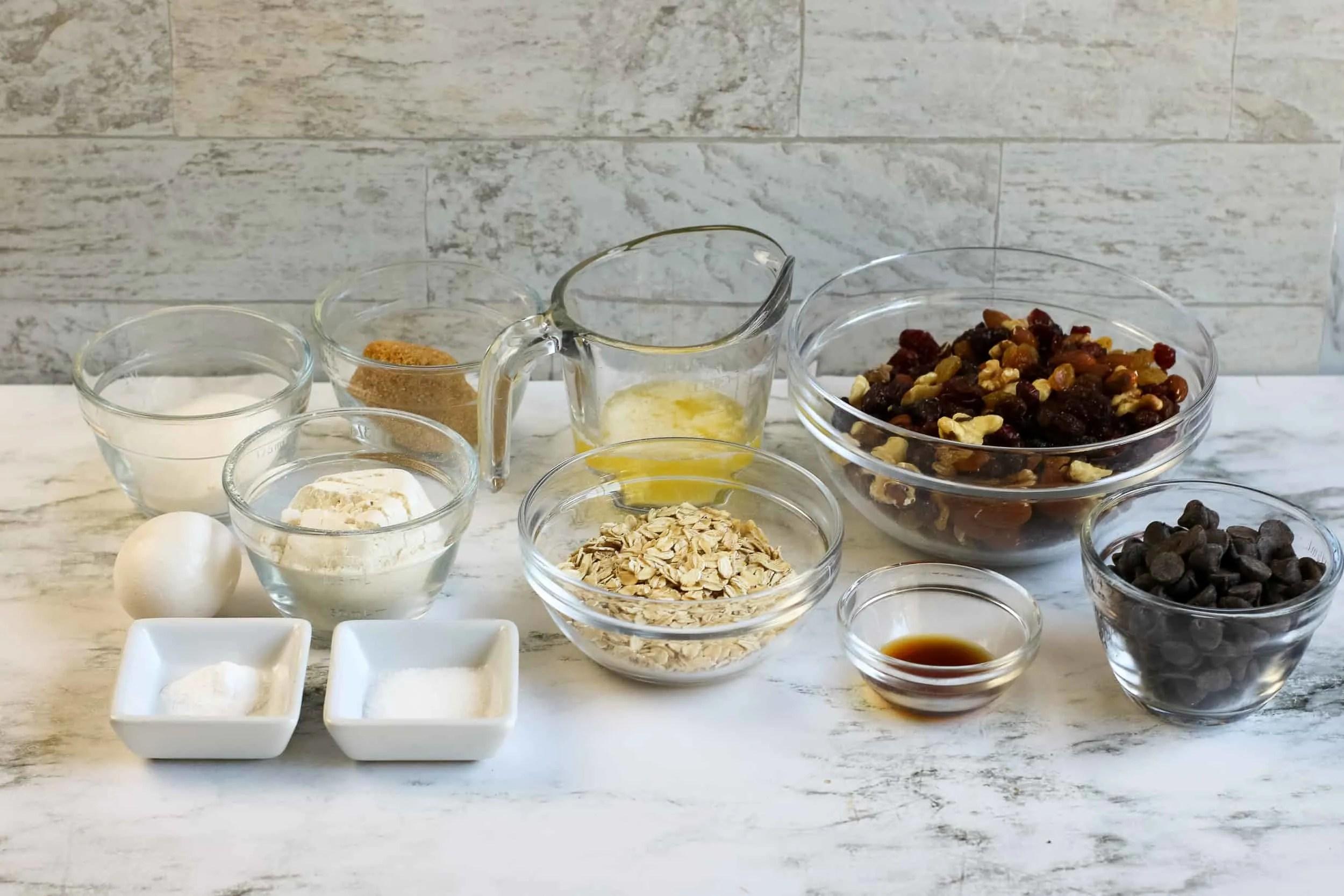 Trail Mix Cookie Ingredients