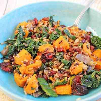 Vegan Rice Salad with Sweet Potatoes and Kale
