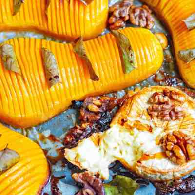 Hasselback Roasted Butternut Squash with Brie