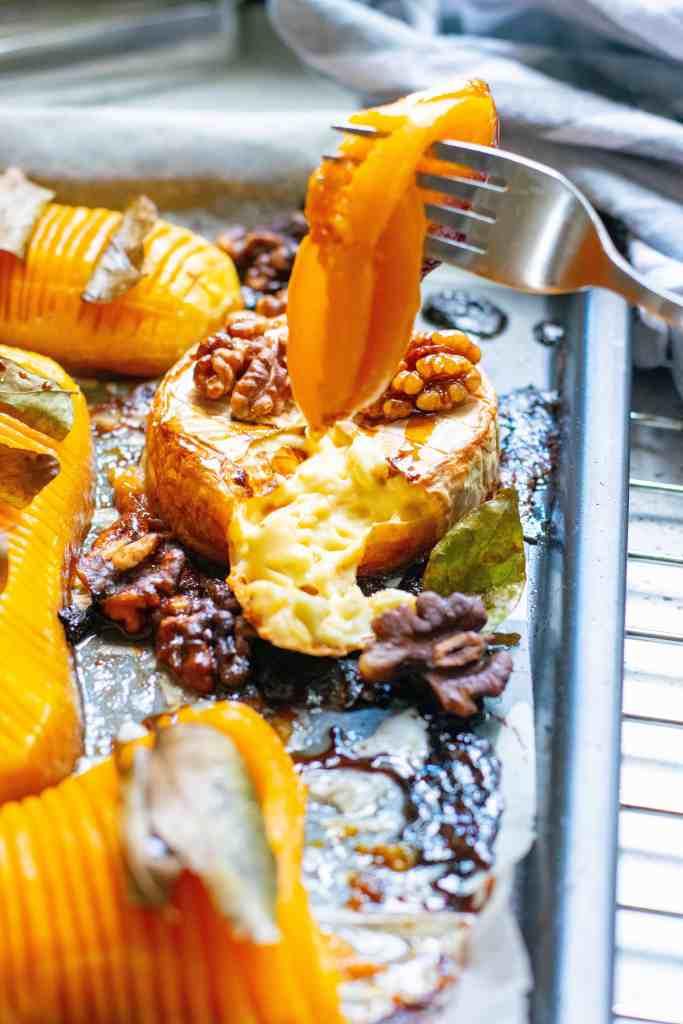 Closeup of butternut squash on a fork.