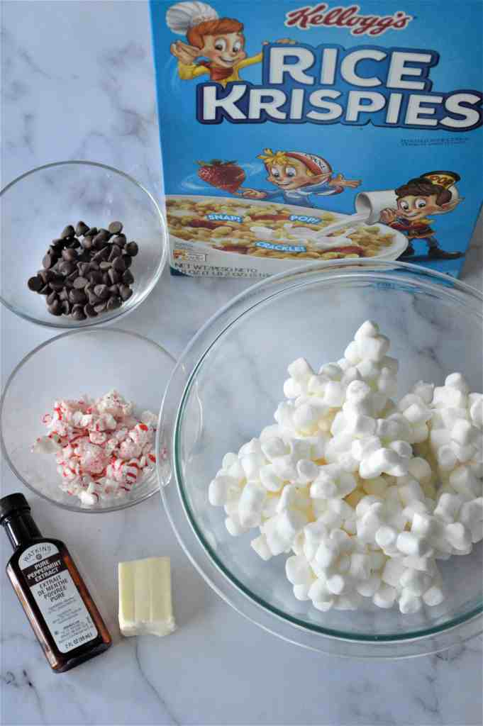 Ingredients for Chocolate Peppermint Rice Krispie Treats.