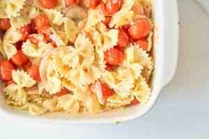 Overhead closeup of Tik Tok pasta recipe.