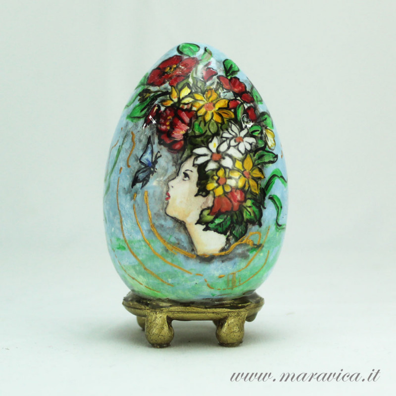 Bomboniera comunione e battesimo o articolo da regalo. Uovo Di Pasqua In Ceramica Dipinto A Mano Primavera