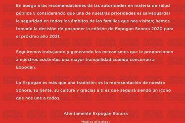 expogan sonora 2020 cancelada