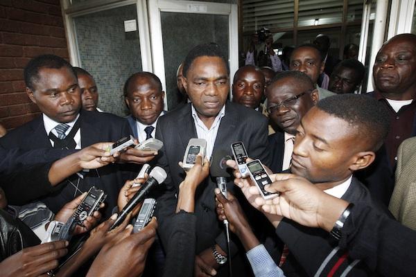 Hakainde Hichilema talks to Journalists. Picture by Joseph Mwenda