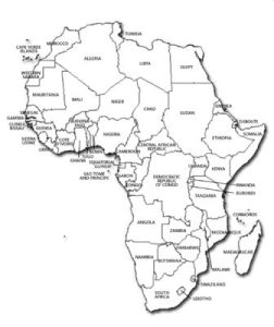 Africa political map in black and white