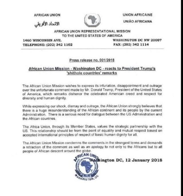 African Union Blasts Trump