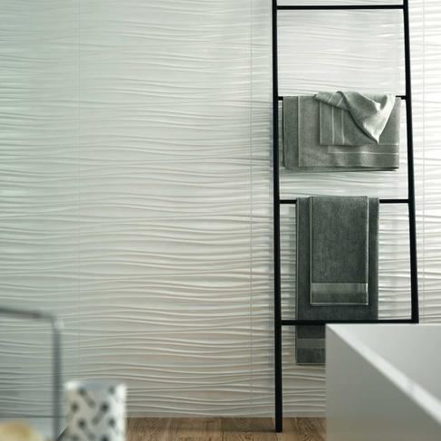 3d structure white wall tiles