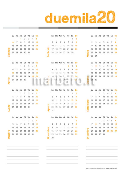 Calendario 2020 20 Da Stampare.2020 Calendar Pdf Cover Letter Resume Ideas Wppluginninja Us
