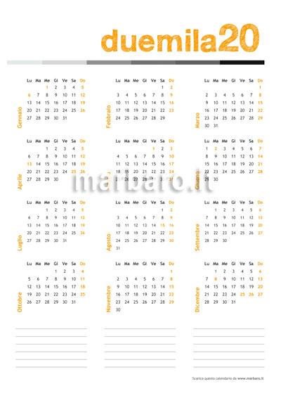 Calendario 2020 Da Stampare Gratis.2020 Calendar Pdf Cover Letter Resume Ideas Wppluginninja Us
