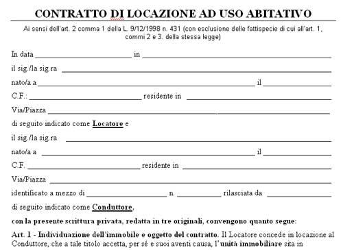 Facsimile Contratto Locazione Ad Uso Abitativo In Word