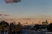 夕日に染まるベイブリッジ