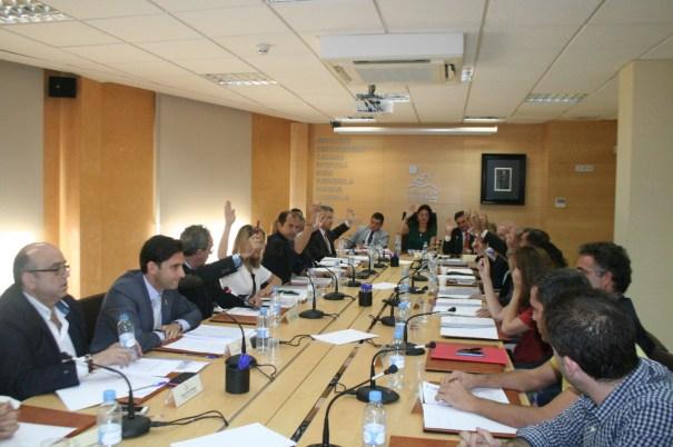 Los representantes del PP votando este lunes el cambio de estatutos en Mancomunidad