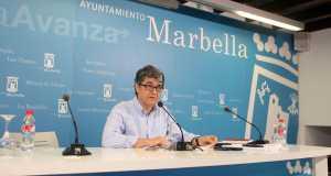 El portavoz municipal, Javier Porcuna, en rueda de prensa reciente