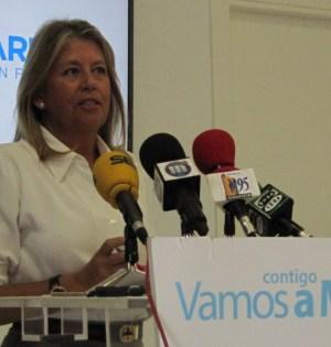 Muñoz, valorando los asuntos de actualidad desde la sede del PP. Foto: Cecilio Galdón