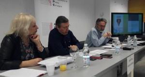 El periodista de investigación Antonio Rubio, primero por la derecha, este jueves en el encuentro organizado por la Asociación de Corresponsales de Prensa Extranjera (ACPE). FOTO/ EP