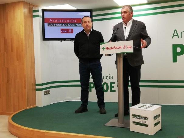 El coordinador parlamentario del PSOE de Málaga y exconsejero de Empleo, Javier Porcuna, durante su comparecencia de este lunes junto al secretario general provincial, José Luis Ruiz Espejo. FOTO/ PSOE