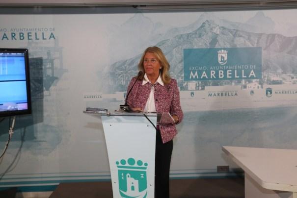 La alcaldesa de Marbella, Angeles Muñoz, durante una comparecencia telemática reciente. FOTO/ Ayto de Marbella