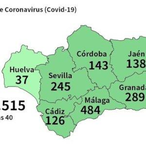 Mapa del Coronavirus en Andalucía. Fuente/ Junta de Andalucía