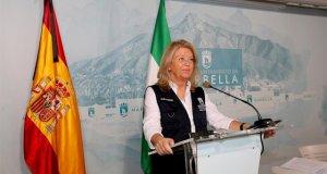 La alcaldesa de Marbella, Ángeles Muñoz, este miércoles durante una comparecencia telemática. FOTO/ Ayuntamiento de Marbella