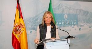 La alcaldesa de Marbella, Ángeles Muñoz, este jueves durante su comparecencia telemática. FOTO/ Ayto de Marbella