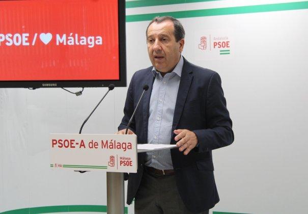 El secretario general del PSOE de Málaga, José Luis Ruiz Espejo, en una comparecencia reciente. FOTO/ PSOE