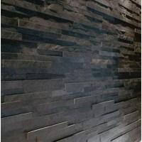 Sample Black Slate Split Face Mosaic Tile