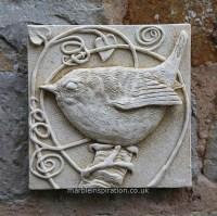 WREN WALL TILE - Bird Design Garden Wall Plaque - Garden ...