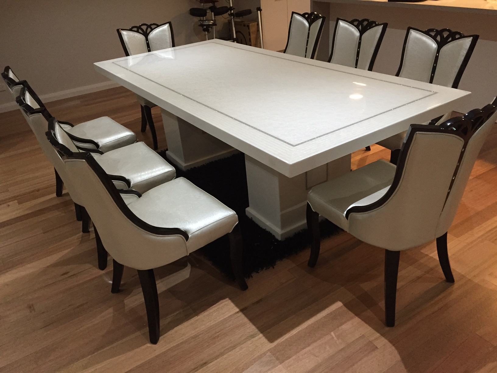 chair for dining table thomas the train with storage bianca marble 8 chairs king