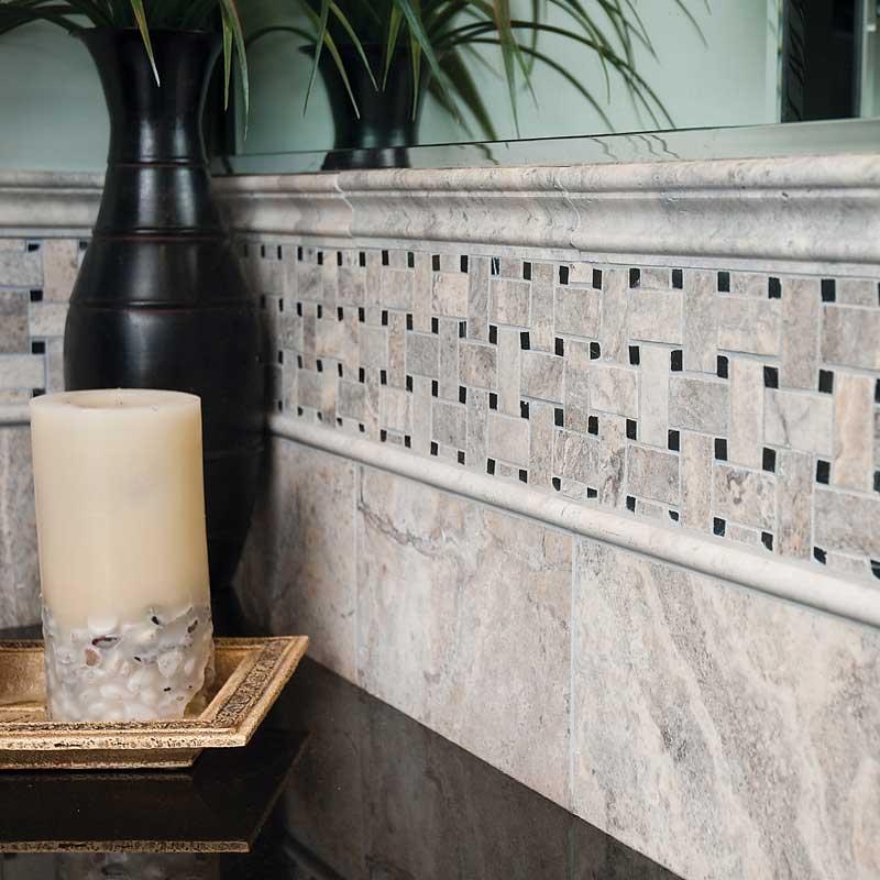 Silverado Honedfilled Basket Weave Travertine Mosaics
