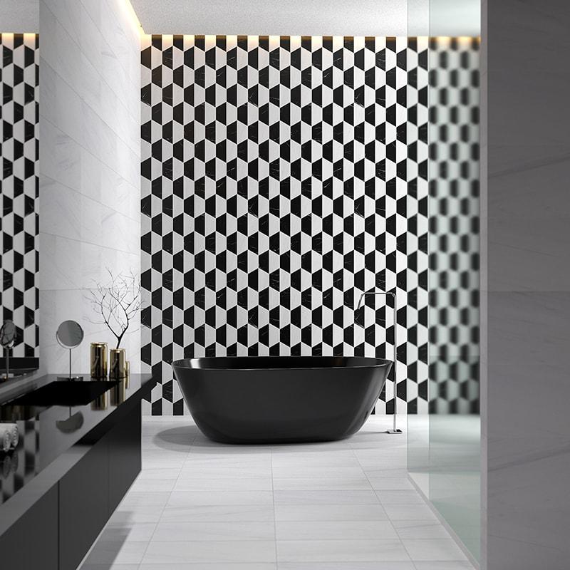 snow white black honed mcm hexagon 8 marble mosaics 8 inch