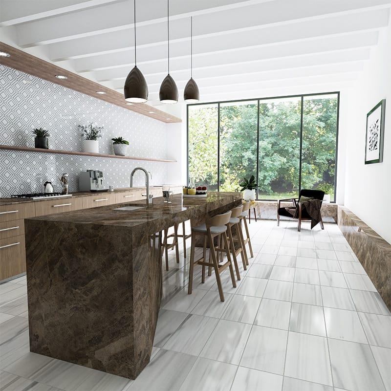 frost white honed marble tiles 12x24