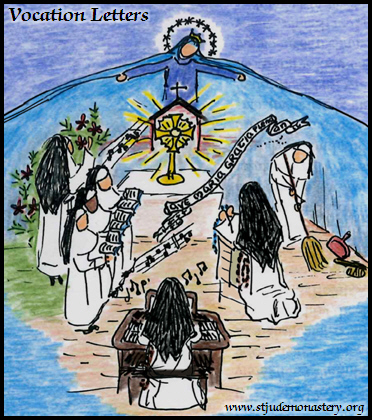 Illustration of the role of Total Consecration to Mary in the vocation of a cloistered Dominican Nun at Marbury - Our Lady extending her mantle over the Sisters singing in choir, praying the Rosary, working, etc.