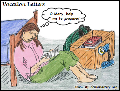 Illustration of Melanie reading a Vocation Letter from the Dominican Nuns, and praying, O Mary, help me to prepare!