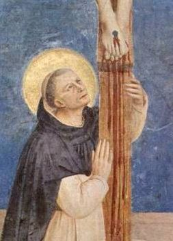 St. Dominic adoring the Crucified Christ by Fra Angelico - detail of larger painting