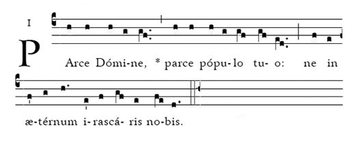 Gregorian chant for Parce Domine