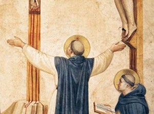 St. Dominic prays at the foot of the Cross with his arms like a cross