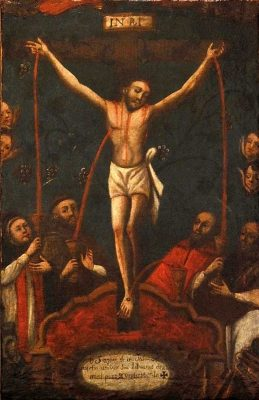 Painting of Jesus Crucified with saints catching the Precious Blood in chalices