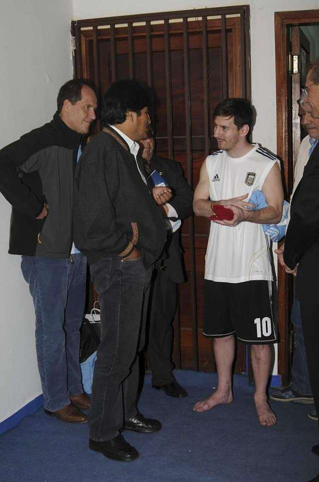 Image result for evo morales with messi