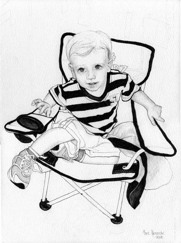 James in Camping Chair, Pencil on Paper,  35cm by 26cm. (2010)