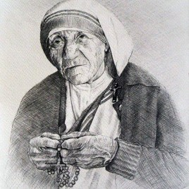 Mother Teresa #III - Preliminary Sketch, Pencil on Watercolor Paper, 21cm by 29cm. (2014)