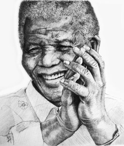 """Nelson Mandela 'Mandela's Joy Preliminary Sketch' by Marc Alexander, pencil on paper, 17cm by 14.5cm, (2014). It has been said that what brought Mandela the most joy, was the laughter of children; therefore, besides campaigning globally for peace, he focused much of his attention on empowering disadvantaged children and being an AIDS activist. Mandela said, """"There can be no keener revelation of a society's soul than the way in which it treats its children."""""""