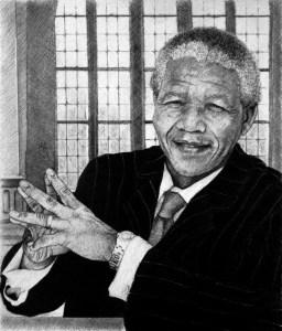 Nelson Mandela 'Let's Talk Preliminary Sketch' by Marc Alexander, pencil on paper, 17cm by 14.5cm. (2013)