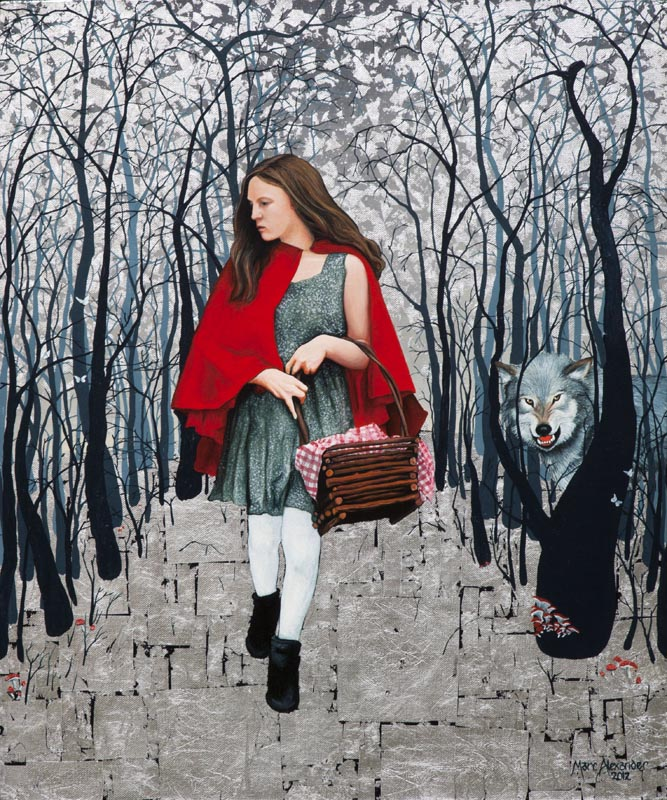 Red Riding Hood, Oil and Silver Leaf on Canvas, 60cm by 50cm. (2012)