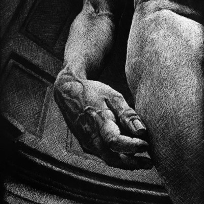 David's Hand, White Charcoal on Black Watercolour Paper, 35cm by 29cm, (2013)