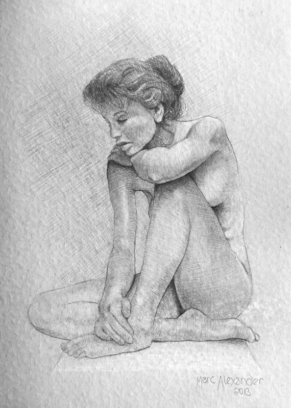 Female Nude #11, Pencil and White Charcoal on Paper, 21cm by 15cm. (2013)