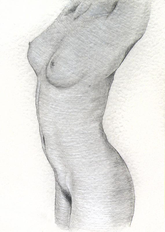 Female Nude #12,  Pencil on Paper, 21cm by 15cm. (2013)